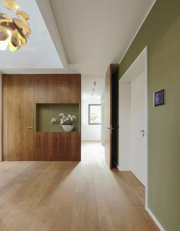 Plank floor and walnut wall covering in home LANG_EVOIMAGES