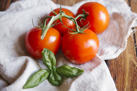 Tomatoes on vine with basil leaf