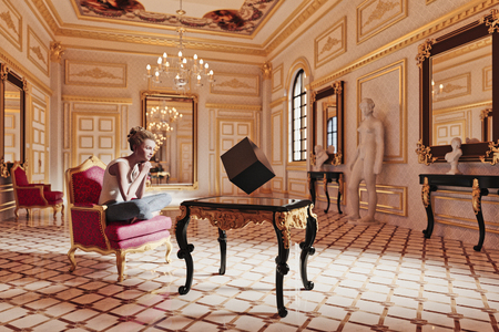 Woman watching floating cube in sitting room Banco de Imagens - 102038091