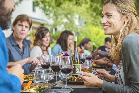 Friends enjoying wine at party outdoors Banco de Imagens - 102038096