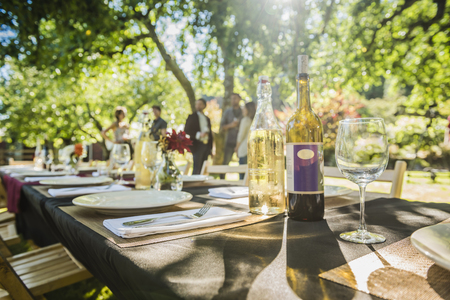Wine bottles on table at party outdoors LANG_EVOIMAGES