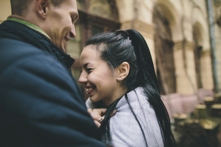 Close up of Caucasian couple laughing Banco de Imagens - 102038135
