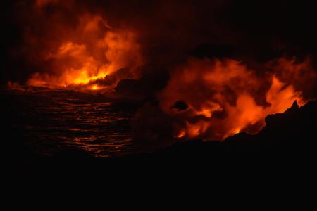 Smoke from molten lava at night Banco de Imagens - 102038153