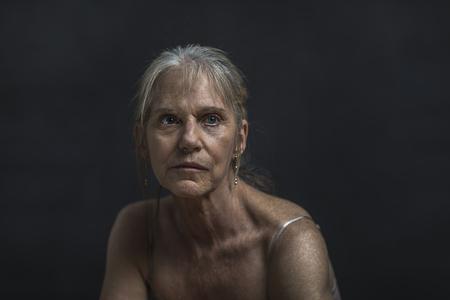 Portrait of sad older Caucasian woman