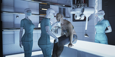 Futuristic nurses examining woman Banco de Imagens - 102038189