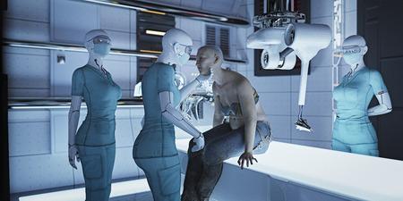 Futuristic nurses examining woman