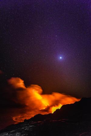 Smoke from molten lava at night