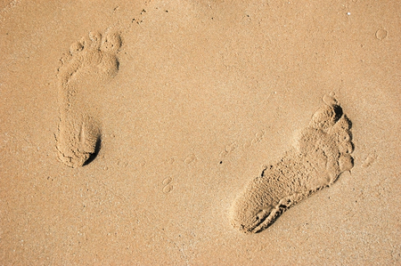 footprints in the sand: Footprints in the Sand Stock Photo