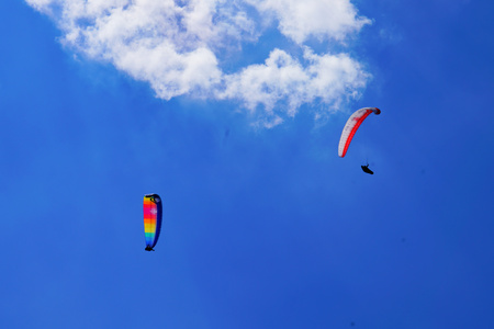 Paragliding on a sunny day