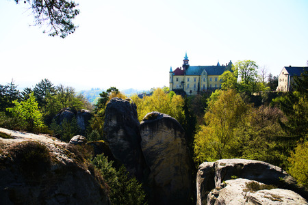 Distant view of Hruba Skala and surrounding rock formations