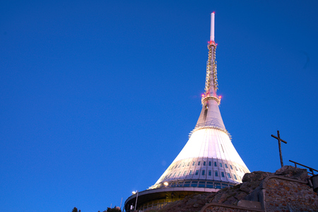 Liberec, Czech Republic - April 19 2019: Hotel and TV transmitter on top of Jested Mountain, designed by Czech architect Hubacek Редакционное
