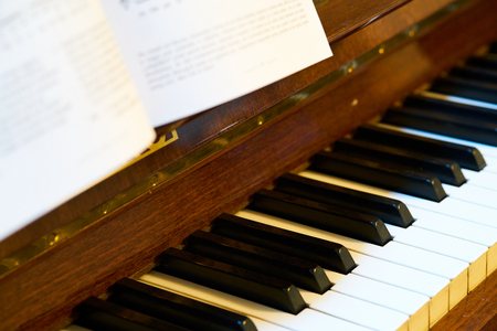 close up of classical piano keyboard
