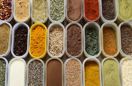 many spices in contanters