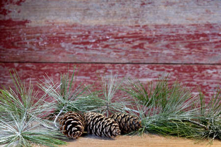 three pine cones a red barn board background