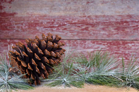 a pine cones and a red bow with a red barn board background Stock Photo