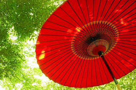 flashy: Red sun umbrella in Japan: outdoor ornaments.