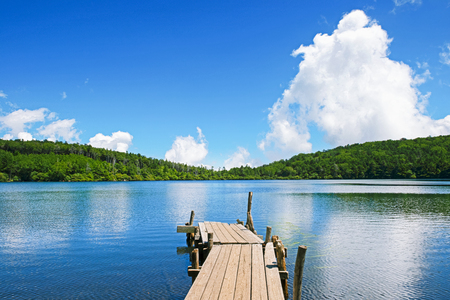 plateau: The clear sky and beautiful lake: Nagano prefecture in Japan.