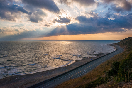 Coastal road, seaside of evening landscape.