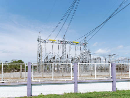 electricity substaion the dangerous area of energy facility to transform and distribution by electric high voltage cable for industrial Stock Photo