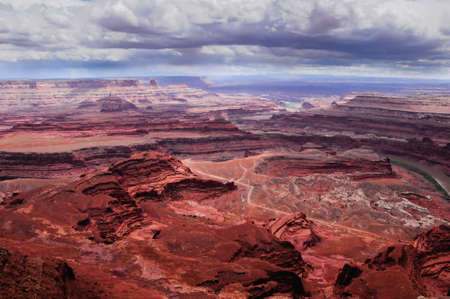 Looking down at Shafer Trail in Canyonlands