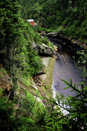 Pointe Wolfe River and Covered Bridge, Fundy National Park, New Brunswick, Canada