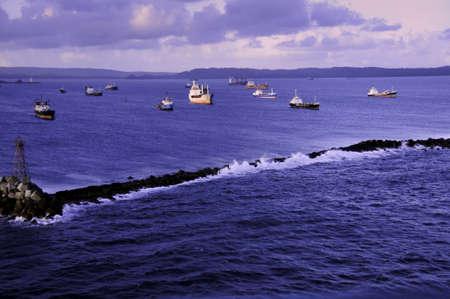 colon panama: Break waters at the harbor in Colon Panama