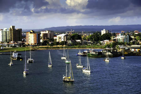 Sail boats moored in the colorful town of Colon Panama