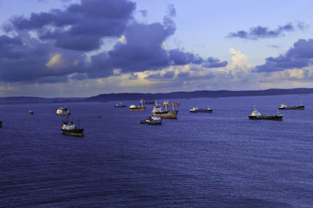 Cargo ships anchored at the Port of Colon Panama