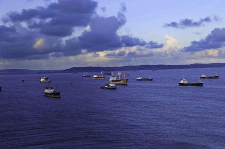 colon panama: Cargo ships anchored at the Port of Colon Panama