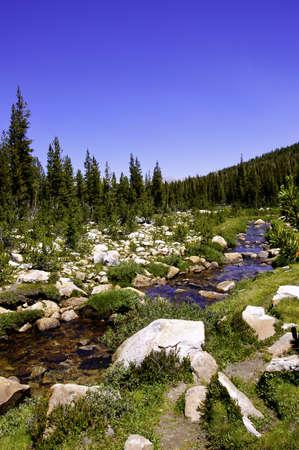 high sierra: A high sierra stream flowing thru a rocky meadow Stock Photo
