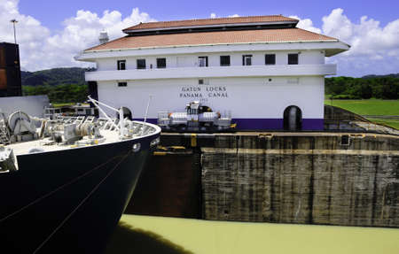 The locks at Gatun, Panama Canal