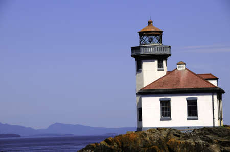 Lime Kiln lighthouse on San Juan Island, Washington Imagens