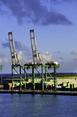 colon panama: Shipping containers and cranes at the Port of Colon Panama