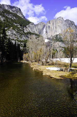 merced: Merced River and a waterfall in Yosemite National Park