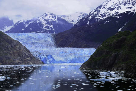 The blue Sawyer Glacier at Tracy Arm Fjord, Alaska Stock Photo