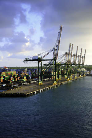 colon panama: Shipping containers and cranes at the port in Colon Panama