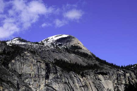 Snow covered mountain peak in Yosemite National Park
