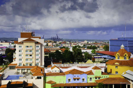 colon panama: Brightly colored buildings in the town of Colon Panama Stock Photo