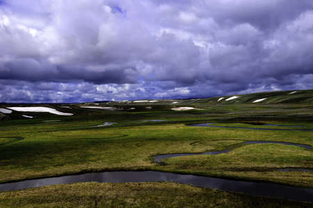 hayden: A dark and stormy sky over the Hayden Valley, Yellowstone National Park