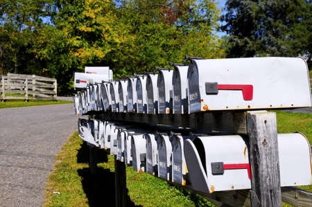 Rural Mailboxes with fall colors in the background