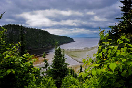 Wolf Point, over looking the Atlantic Ocean, in New Brunswick, canada Imagens