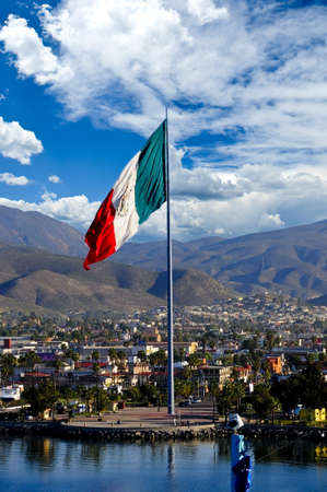 A large Mexican Flag flying at the Port of Ensenada