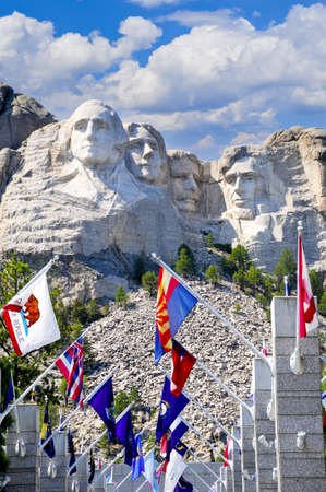 'mt rushmore': Flags from the fifty states in front of Mt  Rushmore Editorial