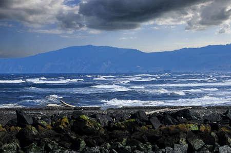 cashing: Pacific ocean cashing waves on the coast