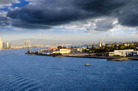 San Diego Bay and the Coronado Bridge and North Island Standard-Bild
