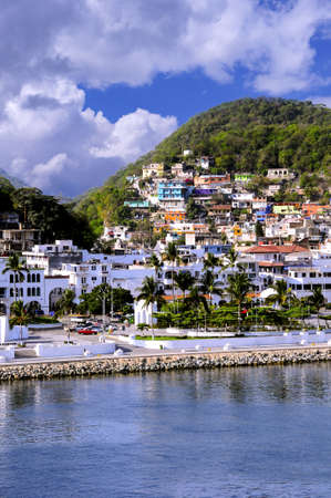 The port of Manzanillo, Mexico and colorful houses