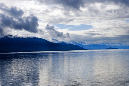 The Inland Passage with snow capped mountains