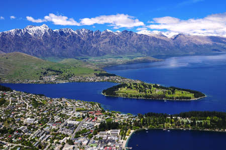 View of Queens Town and Lake Wakatipu, New Zealand