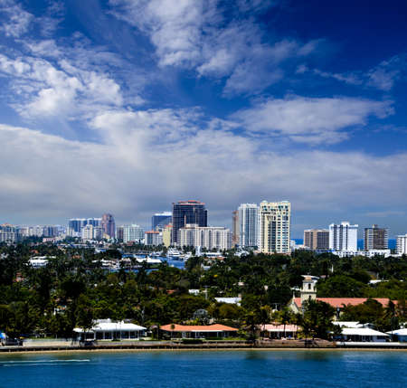 waterways: Cityscape of downtown Ft  Lauderdale  Florida and vacation homes Stock Photo