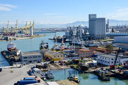 The busy port of Livorno, Italy Stock Photo